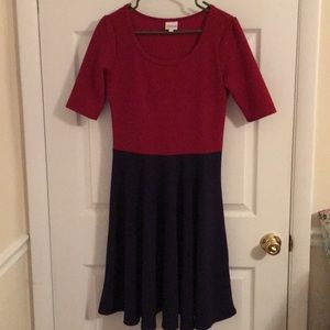 Red and navy blue knee length dress